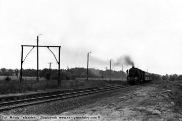 Płonica - Bolemin 19.09.1986. Zbliżający się pociąg z Rudnicy do Gorzowa Wlkp.