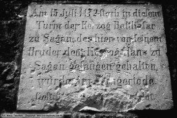 Przewóz 22.08.1986, tablica na wieży głodowej.