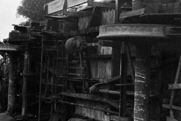 Witkowo, wykolejony wagon normalnotorowy 23.10.1987