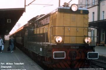 Krzyż w maju 1991. pociąg pośpieszny z Warszawy do Gorzowa 1823.