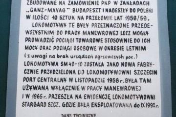 Stargard Szczeciński w dniu 16.08.1997. Tablica informacyjna pomnika SM40.