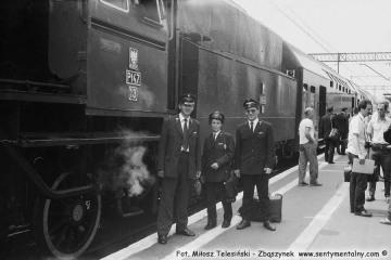 Drużyna ostatniego pociągu parowego na stacji Lublin w dniu 30.06.1988