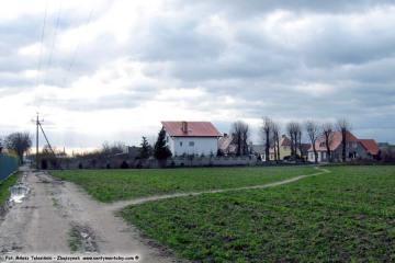 Widok w stronę ulic Zielonogórskiej i Zbąszyńskiej w Zbąszynku od strony Bronikowa 23.00.2009. Drzewa na klombie jeszcze nie odrośnięte