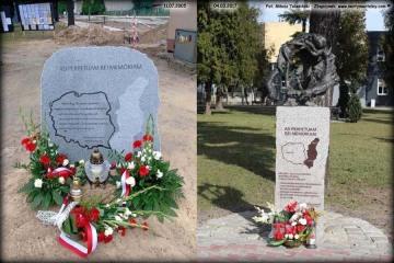 Pomnik kresowian na Placu Dworcowym w dniach 11.07.2015 i 03.04.2017.