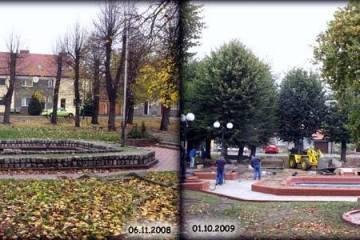 Plac Wolności w Zbąszynku 06.11.2008 i 01.10.2009.