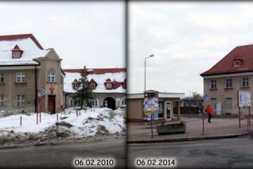 Plac Dworcowy w Zbąszynku w roku 2010 i 2014