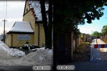 Droga ogrodowa przy ulicy Warszawskiej 06.02.2010 i 25.05.2015.