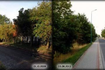 Ulica P.C.K. w Zbąszynku 01.10.2010 i 03.08.2013.