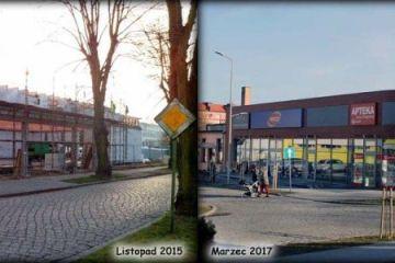 Powstające i gotowe sklepy na narożniku ulic Targowej i Długiej w Zbąszynku.  Jesień 2015 i wiosna 2017
