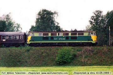 SP45-039 wyjeżdża ze Zbąszynka z osobowym do Gorzowa Wlkp. w dniu 10.05.1989.