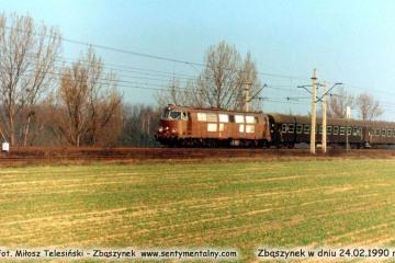 SP45 remontowana w Z.N.T.K. podczas próbnej jazdy w dniu 24.02.1990.