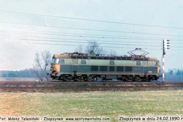 ET22-034 wjeżdża do Zbąszynka od strony Poznania w dniu 24.02.1990