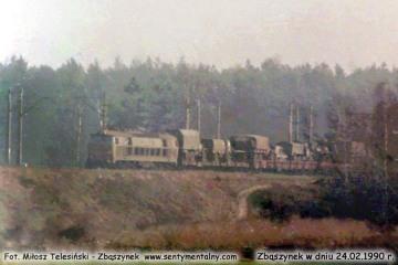 """Transport wojskowy minął nastawnię """"Chlastawę"""" w stronę Zbąszynka w dniu 24.02.1990."""