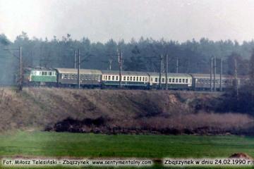 Pośpieszny Warszawa - Berlin zbliża się do Zbąszynka w dniu 24.02.1990