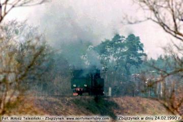 Tkt48 oddala się w stronę Międzyrzecza w dniu 24.02.1990.24.02.1990.