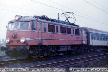 """EP08-011 z Lubuszaninem"""" Zbąszynek/Gorzów - Warszawa, wyjeżdża 23.07.1990"""