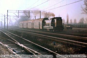 SP32-128 do Leszna, wyjeżdża ze Zbąszynka w dniu 11.01.1992.