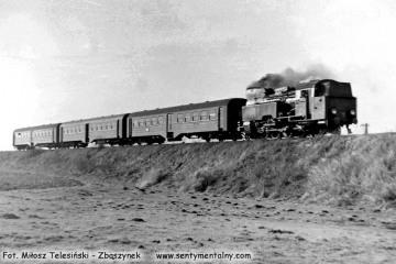 Tkt48-117 z osobowym do Kępna, w  stronę Bukowej Śląskiej wyjechał z Sycowa w dniu 02.02.1988.