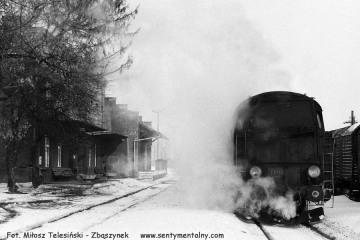 Tkt48-29 na stacji Rychtal z pociągiem do Namysłowa w dniu 12.02.1991.