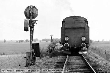 Tkt48-28 Wjazd do Sycowa pociągu specjalnego (Kępno - Bukowa Śląska - Syców - Kępno) w dniu 17.05.1987.