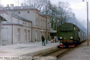 Tkt48-87 z pociągiem Kępno - Oleśnica na stacji Syców w dniu 27.03.1990.