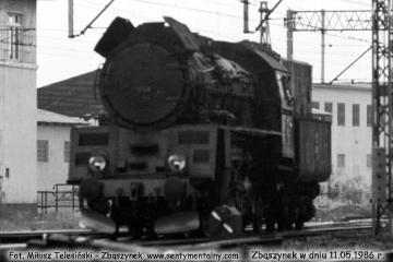 Zbąszynek, Ol49-54 objeżdża skład z Leszna w dniu 11.05.1986.
