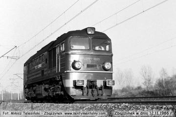 Zbąszynek 12.11.1986, ST44-1069, wjeżdża do Zbąszynka od strony Zbąszynia.