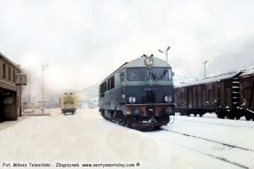 SU46-041 na stacji Muszyna w lutym 1985.