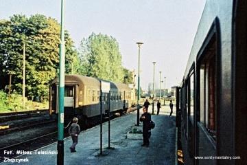Międzyrzecz 03.10.1987. Pociąg specjalny podczas zmiany kierunku jazdy w dniu 03.10.1987.