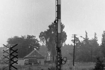Rudnica podczas przebudowy, w dniu 22.09.1987. Semafor - dawny wjazd od strony Kostrzyna.