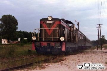 Bełżec 27.06.1992. Pociąg z Przeworska. Lokomotywa SP42-015.