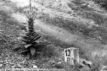 Rudnica 22.09.1987. Słupek przy zakończeniu toru, który dawniej prowadził do Sulęcina.