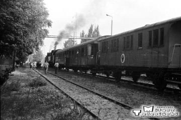 Elbląg Zdrój 27.06.1987. Pociąg specjalny Elbląg - Frombork - Braniewo - Pieniężno - Elbląg. Na początku parowóz Tkt48-122, jako drugi 149.