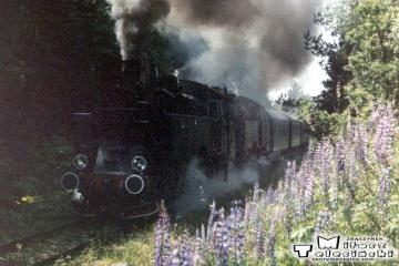 Frombork - Braniewo 27.06.1987. Na początku parowóz Tkt48-122, jako drugi 149.