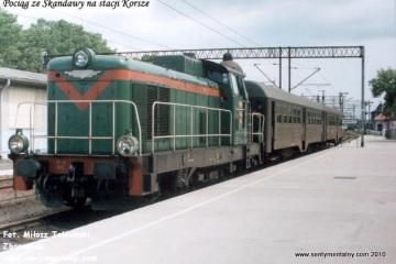 Korsze 22.06.1993. SP42-163 z osobowym do Skandawy.