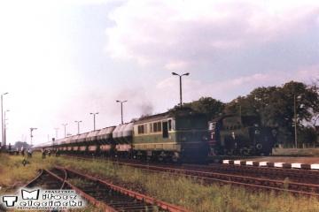 Krobia. Po przyjeździe na stację końcową z Ostrowa Wlkp. w dniu 10.09.1988.