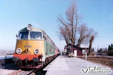 Trakiszki 23.02.1995. Pociąg z Sestokaj do Suwałk.