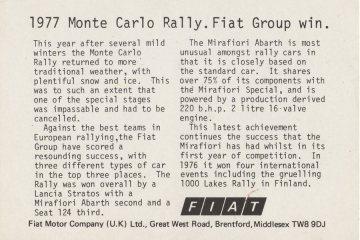 Druga strona pocztówki przysłanej przez firmę FIAT a z Anglii w 1977 roku.