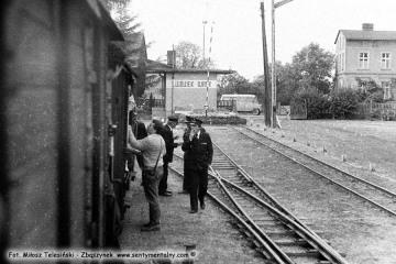 Lwówek Wąskotorowy w dniu 13.09.1986. Pociąg specjalny z okazji obchodów 100 rocznicy kolejki przypadającej na 23.10.1986.