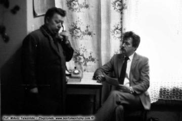 Opalenica w dniu 14.09.1986. Od lewej: Pan Stachowiak - majster lokomotywowni i Pan Leszek Przybylski - zawiadowca lokomotywowni.