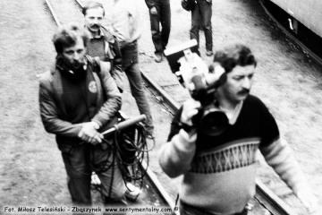 """Opalenica w dniu 13.09.1986. Ekipa telewizji """"Teleskop"""" z Poznania."""