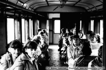 Opalenica - Lwówek w dniu 17.04.1986. Przejazd zorganizowany dla dzieci.