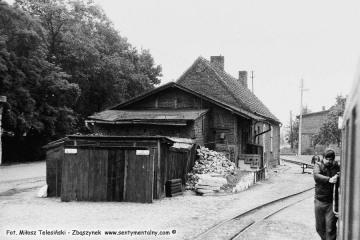 Duszniki Wlkp. w dniu 13.09.1986. Podczas obrotu parowozu pociągu specjalnego z okazji 100 rocznicy kolejki (przypadającej 23.10.1886).