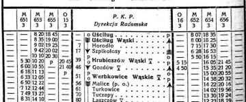 Rozkład z 1923 roku.