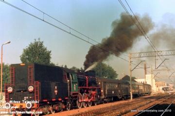 Pociąg specjalny do Żnina na stacji Gniezno w dniu 09.09.1988.