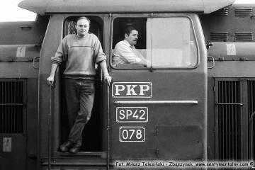 Myślibórz 24.05.1990. Maszyniści po przyprowadzeniu pociągu z Gorzowa Wlkp. Do ustalenia.