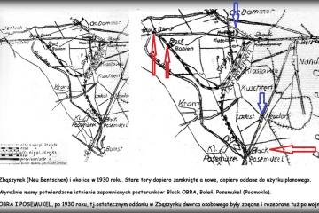 Zbąszynek (Neu Bentschen) w 1930 roku. Ostateczne wycofanie z ruchu starych torów, które zostały już tylko odchodzącymi w zapomnienie nasypami. Widoczne na rozwidleniu torów w stronę Szczańca posterunek OBRA, oraz jadąc z Babimostu podobną rolę spełniający PODMOKLA (Posemukel).