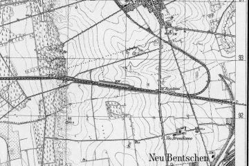 1929 Mapka z 1929 roku. Komunikacja Świebodzina z Międzyrzeczem odbywa się tymczasowym łukiem utworzonym w 1920 roku. Tor aktualny w budowie tuż przed oddaniem. Nowe połączenie zaczęło funkcjonować od kwietnia 1930 toku.
