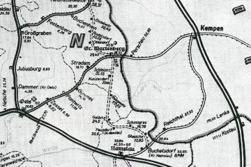 Mapka z 1943 Widoczna podczas budowy linia Syców - Bukowa Śląska.