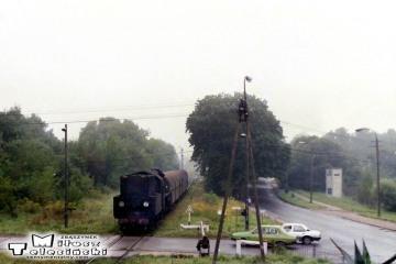 Ol49-9 z Ełku, wjeżdża na stację Gołdap w dniu 02.09.1989.
